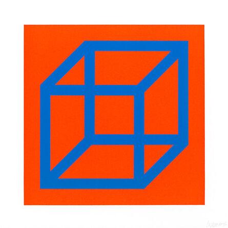 Sol LeWitt, 'Open Cube in Color on Color (Blue & Orange)', 2003