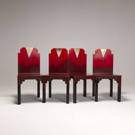 Naihan Li, 'Lacquer Conjoint Chairs in Scarlet'