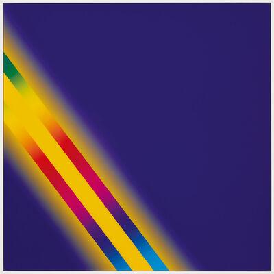"Cory Arcangel, 'PHOTOSHOP CS: 60 BY 60 INCHES, 300 DPI, RGB, SQUARE PIXELS, DEFAULT GRADIENT ""BLUE, YELLOW, BLUE"", MOUSEDOWN Y=10750 X=10300, MOUSEUP Y=16800 X=2300; TOOL ""WAND"", SELECT Y=6850 X=2300, TOLERANCE=40, CONTIGUOUS=OFF; DEFAULT GRADIENT ""SPECTRUM"", MOUSEDOWN Y=17650 X=10350, MOUSEUP Y=4050 X=250', 2013"