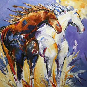 Laurie Pace, 'Original Horse Painting 'Cliffhangers' Colorful Equine Art, Modern Western Art', 2017
