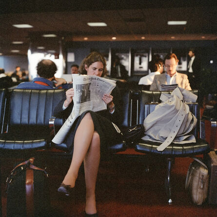 Janet Delaney, 'Reading the New York Times at the Airport, 1986', 2021