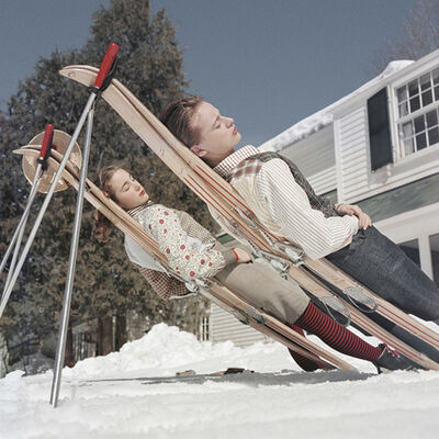 Slim Aarons, 'New England Skiing, 1955: Two women recline on improvised sunbeds in Cranmore Mountain, New Hampshire', 1955