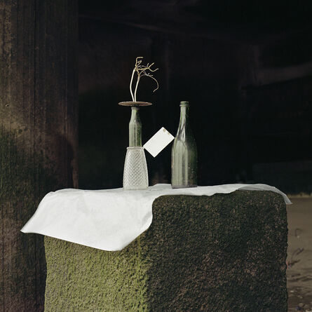 Angela Blažanović, 'Two Glass Bottles, Pint Glass, Round Metal Plate, some Wire and a White Tile I', 2019