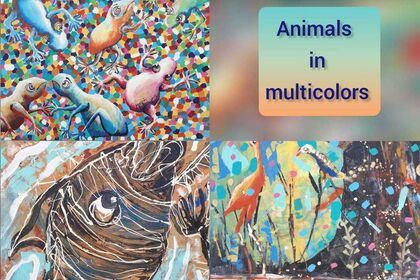 Animals in multicolors