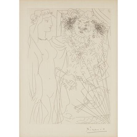 Pablo Picasso, 'Rembrandt et Femme au Voile, Plate 36 from La Suite Vollard', 1934