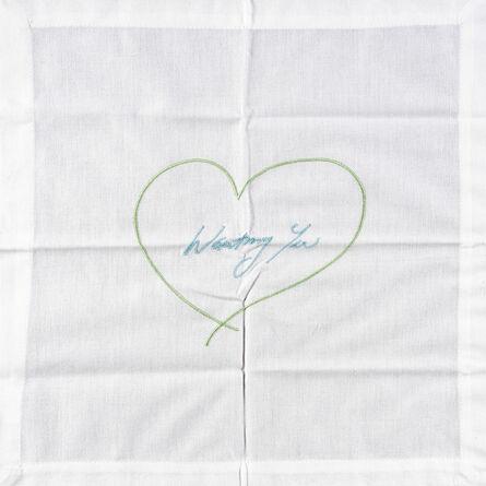 Tracey Emin, 'Wanting You - Napkin (Green & Blue)', 2014