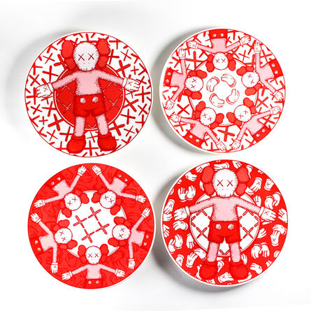 KAWS, 'Limited Ceramic Plate Set - Red (Set of 4)', 2019