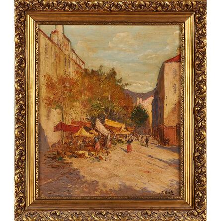 François Nardi, 'Untitled (market scene) (framed)'