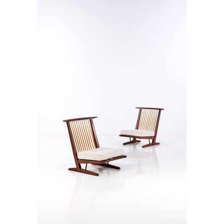 """George Nakashima, 'Model """"Conoid"""" - Pair of Easy Chairs', 1965"""