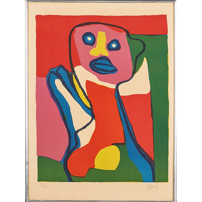 """Karel Appel, 'Three works: lithograph in colors, Untitled (personnage a la cravate), together with two lithographs in colors, """"Streifenfigur,"""" and """"Großes Stilleben mit Kopf,""""', 1969"""