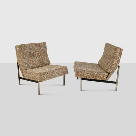 Florence Knoll, 'A Pair of Parallel Lounge-Chairs in floreal velvet', ca. 1956
