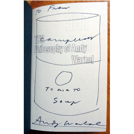 """Andy Warhol, '""""Campbell's Soup Can"""", 1975, Drawing/Signed Book, """"The Philosophy of Andy Warhol""""', 1975"""
