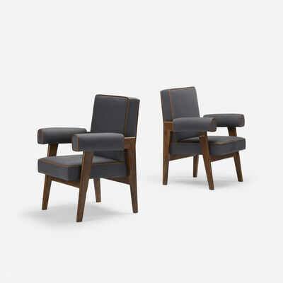 Le Corbusier, 'Pair of Bridge Armchairs from High Court, Chandigarh', c. 1955