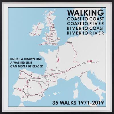 Hamish Fulton, '35 Walks Map. Europe 1971 - 2019', 2019