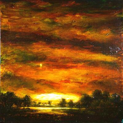 David Bierk, 'Earth Eulogy, Red Sky with Moon', 1998