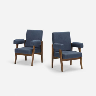 Le Corbusier, 'Bridge armchairs from High Court, Chandigarh, pair', c. 1955