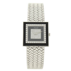 Piaget, '18ct white gold square bracelet watch with onyx and diamond dial.', ca. 1970