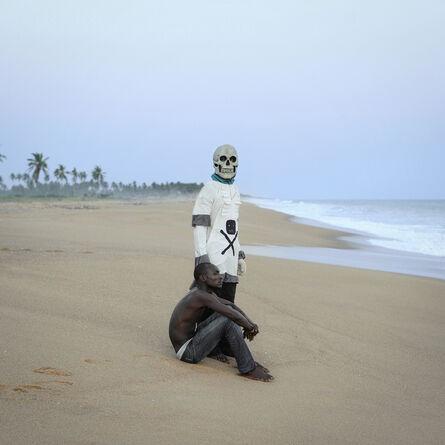 "Nicola Lo Calzo, 'Gerardo De Souza and the mask of Death after the Bourian ceremony, the dance of memory for the Agoudas community, ""Gate of No Return"", Ouidah, Benin.', 2011"