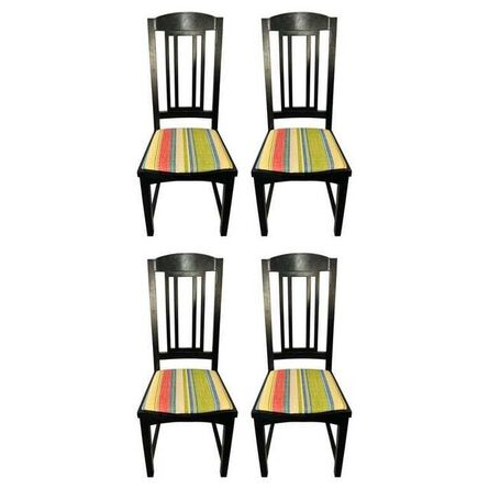 Pace Collection, 'Pace Collection Black Upholstered Dining Chairs, a Set of 4', 1960s