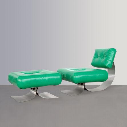 "Oscar Niemeyer, 'Lounge chair ""Alta"" and ottoman', 1970"