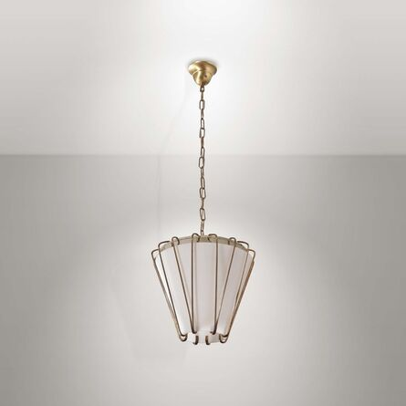 GCME, 'A pendant lamp with a brass structure with an opaline glass diffuser', 1960 ca.