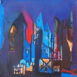 Somenath Maity, 'Structure VI, acrylic in blue, red & violet color, abstract painting by Contemporary Indian Artist Somenath Maity', 2017