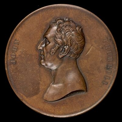 Charles Cushing Wright, die engraver, after design by Robert Ball Hughes, 'John Trumbull, 1756-1843, Painter [obverse]', 1849