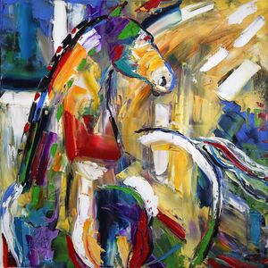 Laurie Pace, 'Original Horse Painting 'Sunbeam Love' Colorful Equine Art, Modern Western Art', 2017