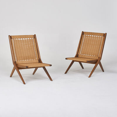 In the style of Gio Ponti, 'Pair of folding lounge chairs', 1950s/60s
