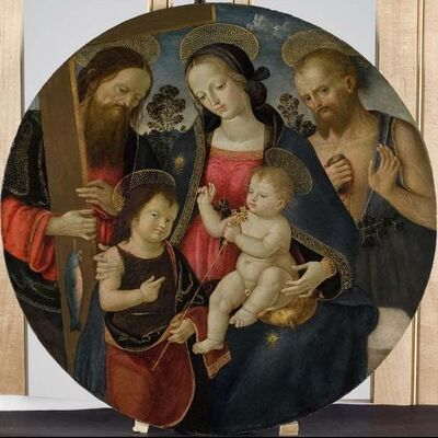 Pinturicchio (Bernardino Di Betto), 'Virgin and Child with the Infant St. John the Baptist and Saints Andrew and Jerome', 1495-1500