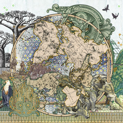 MALALA ANDRIALAVIDRAZANA, 'Figure 1826 Der Sudliche Gestirne Himmel vs Planiglob der Antipoden', 2015