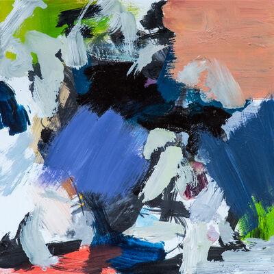 Scott Pattinson, 'Kairoi No 21 - small blue, white, peach, green, gestural abstract, oil on canvas', 2016