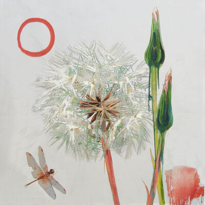 Hung Liu 刘虹, 'Dandelion with Orange Dragonfly (silver) ', 2020