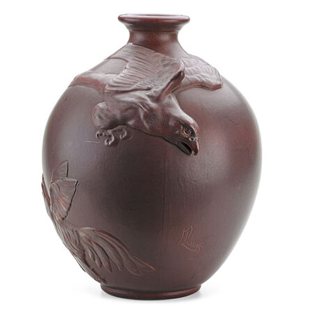 Weller Pottery, 'Weller, Rare And Large Fru-Russett Vase With Eagle, Rooster, And Hen, Zanesville, OH', ca. 1905