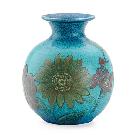 Kataro Shirayamadani, 'Double Vellum Vase With Various Flowers (Uncrazed), Cincinnati, OH', 1932