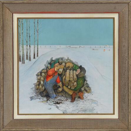 William Kurelek, 'The School's Woodpile', 1972