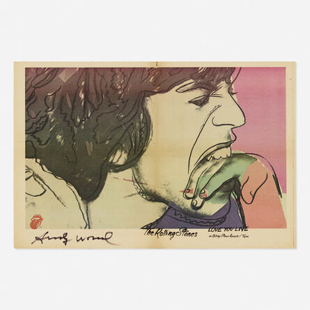 Andy Warhol, 'Signed Love You Live Rolling Stones poster', 1977