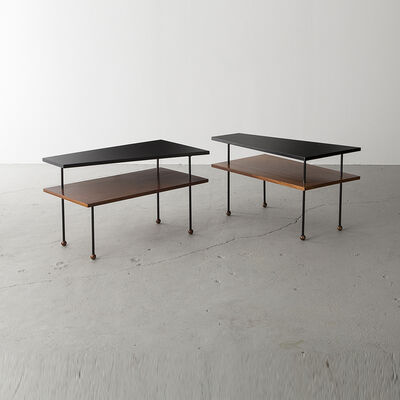 Greta Magnusson Grossman, 'Pair of side tables with two asymmetrical shelves', 1952