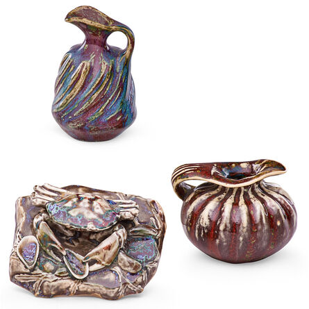 Pierre Adrien Dalpayrat, 'Crab Paperweight And Two Small Organic Pitchers, France', ca. 1900