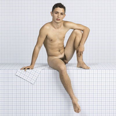 Charlie White, 'Naked Boy Sitting Down, Looking Towards Camera', 2014