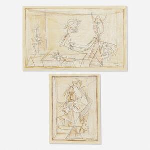Luis Martinez Pedro, 'Brujo Caracolero; Hombre con Gallo en la Boca (two works)', 1945-1949