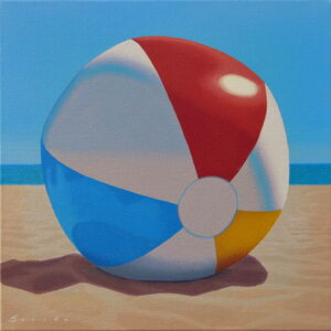 "Rob Brooks, '""Beach Ball"" oil painting of a beach ball in the sand with a blue sky and ocean behind', 2020"