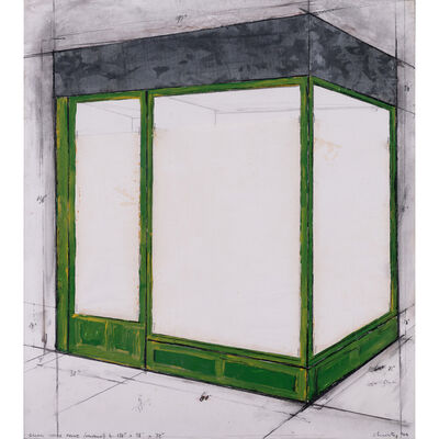 """Christo and Jeanne-Claude, 'Green store front (project) n. 138"""" x 98"""" x 12""""', 1964"""