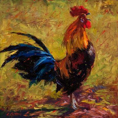 """Cheri Christensen, '""""Cockcrow"""" painterly depiction of a Rooster in Bright Yellow, Red, Blue, Green', 2010-2017"""