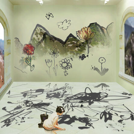 Joonsung Bae, 'The Costume of Painter - Doodling on the wall S, little girl, a square ', 2013