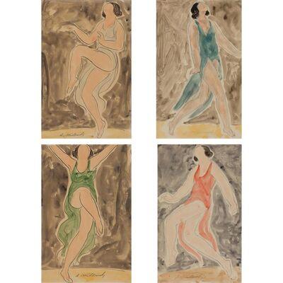 Abraham Walkowitz, 'Isadora Duncan (Light Blue); Isadora Duncan (Blue); Isadora Duncan (Green); Isadora Duncan (Red)'