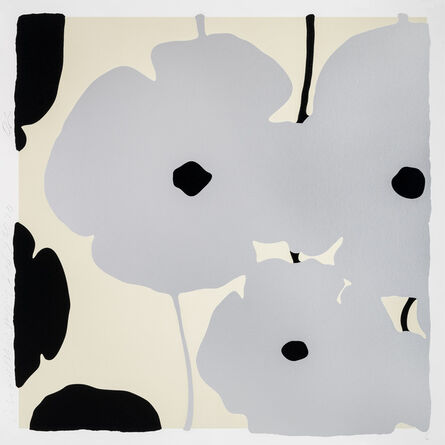 Donald Sultan, 'Silver and Black Poppies, Feb 3, 2020', 2020