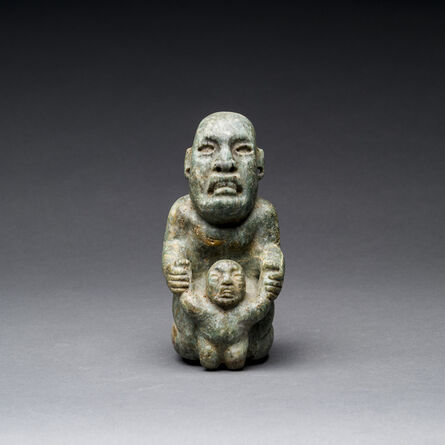 Unknown Pre-Columbian, 'Olmec Green Stone Mother & Child', 900 BC to 500 BC