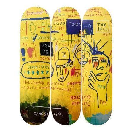 Jean-Michel Basquiat, 'JEAN-MICHEL BASQUIAT- HOLLYWOOD AFRICANS TRIPTYCH SKATE DECKS', ca. 2014