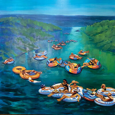 Barbara Able, 'Lazy River - Figures, landscape, Texas, river, perspective', 2020